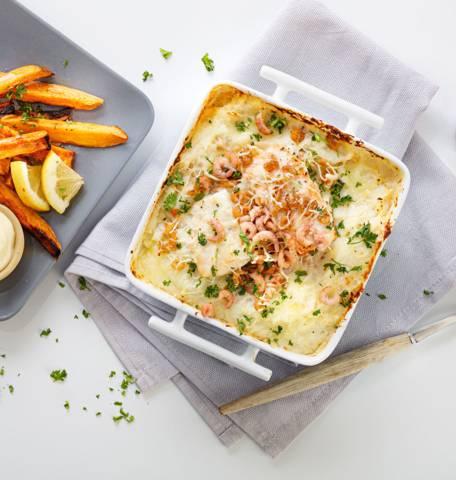 Ovenschotel met vis en zoete aardappel