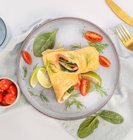 Groente-omelet met zalm