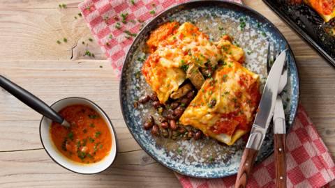 Burrito's met runderreepjes & kidneybonen
