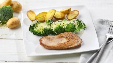 Kalfslapje met broccoli en krieltjes
