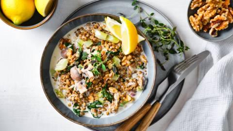 Romige linzotto met champignons, selder en spinazie