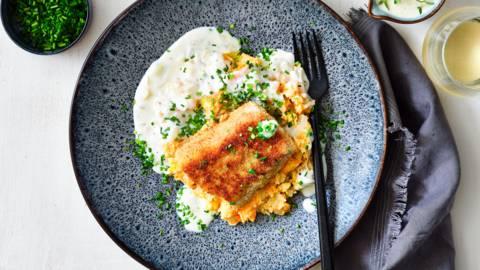 Krokante witte vis met witloofpuree (en melksaus)