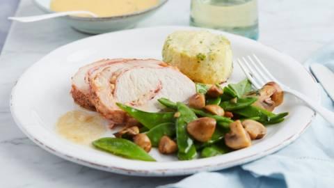 Orloffgebraad met aardappelgratin en groenten