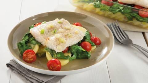 Vis op bedje van spinazie