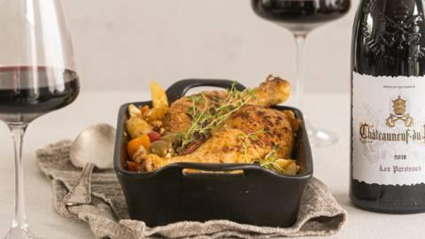 Pittige ovenschotel met kip en chorizo