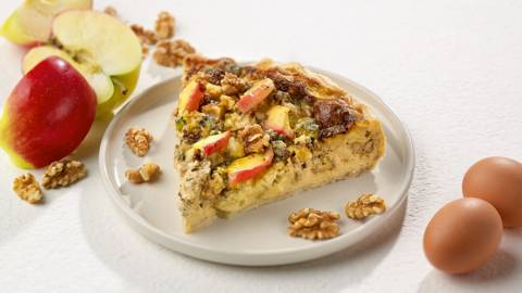 Quiche met Roquefort, appel en walnoot