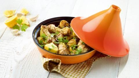 Tajine van kip met citroen en olijven