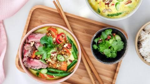 Thaise curry met rundvlees en linzen