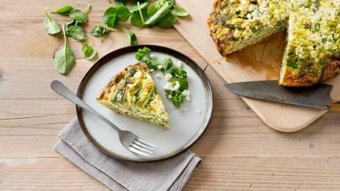 Frittata met gemengd gehakt, spinazie en feta