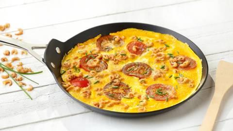 Omelet met biogarnalen