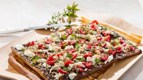 Pizza 'nocciola' met chocolade, frambozen en ricotta