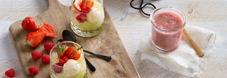 Meloensoepje met vanille-ijs en rood fruit