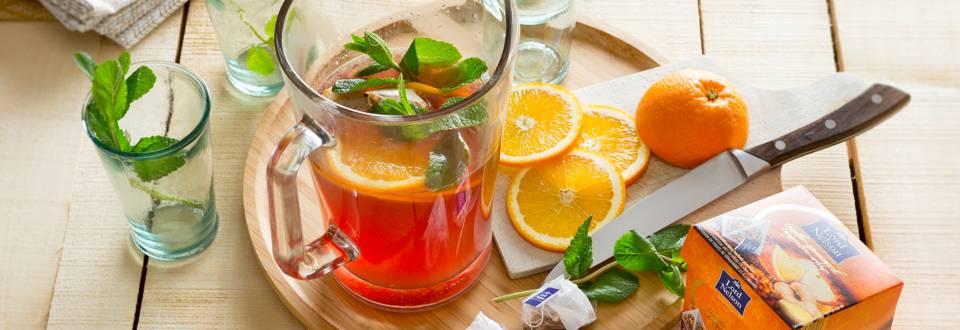 Sport ice tea met sinaas en gember