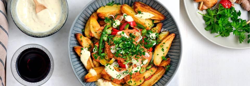 Feestgourmet met salade van patatas bravas