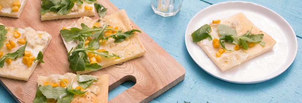 Witte pizza met ricotta en gorgonzola