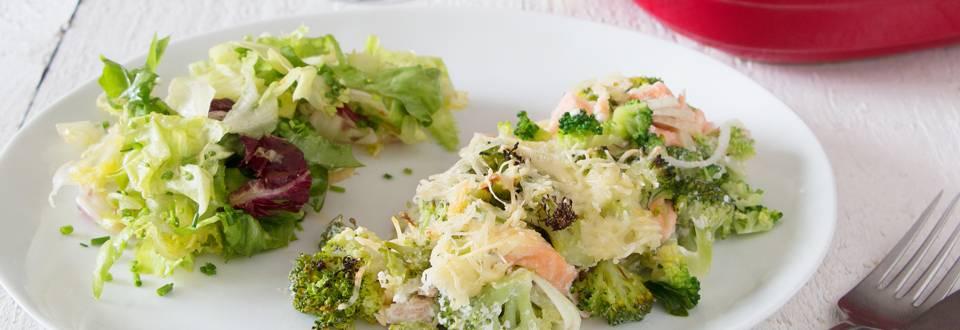 Romige ovenschotel met zalm en broccoli