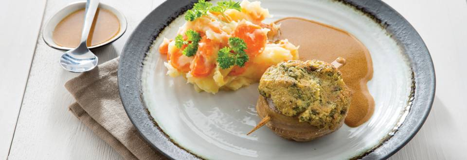 Lamsmedaillon met persillade en wortelstoemp