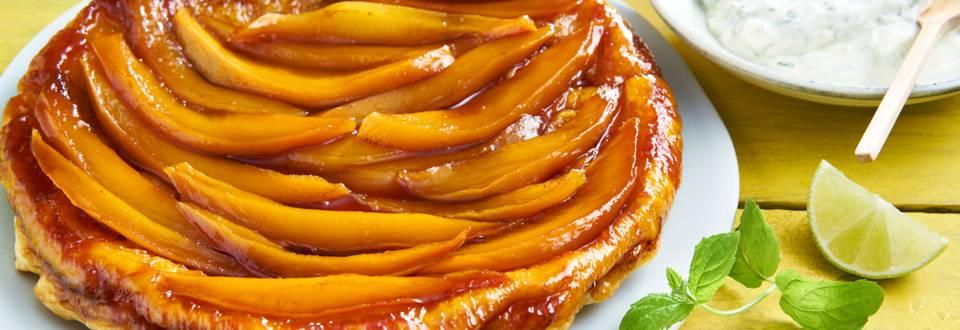 Mango-tarte tatin met muntmascarpone