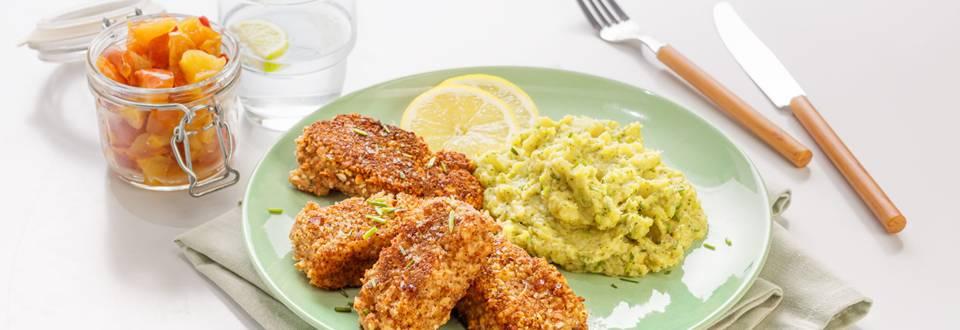 Fishsticks met broccoli-aardappelpuree & appelmoes