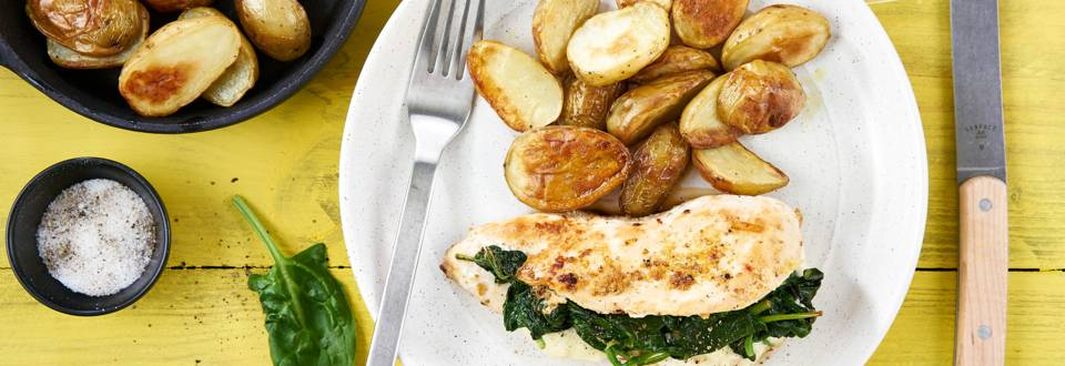 Gevulde kipfilet met spinazie en mozzarella