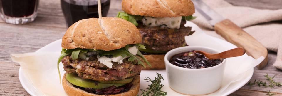 Hindeburger met blauwe kaas