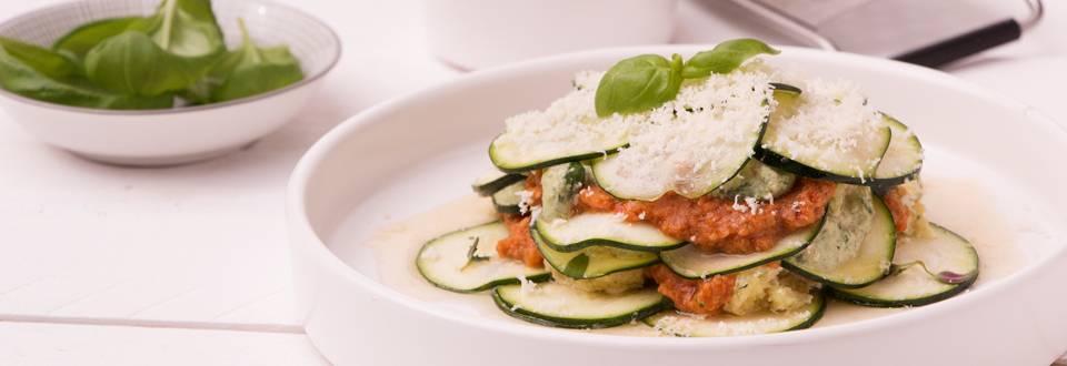 Lasagne van rauwe groenten