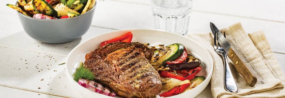 Entrecote met Italiaanse marinade en gegrilde groentjes