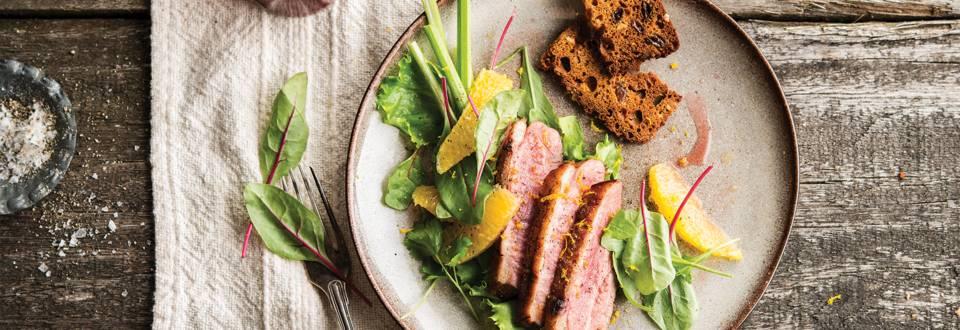 Salade van eend met sinaas en selder