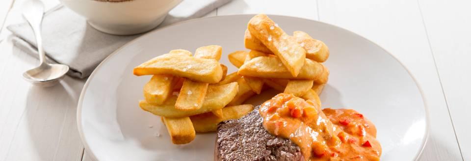 Chateaubriand met stroganoffsaus en frietjes