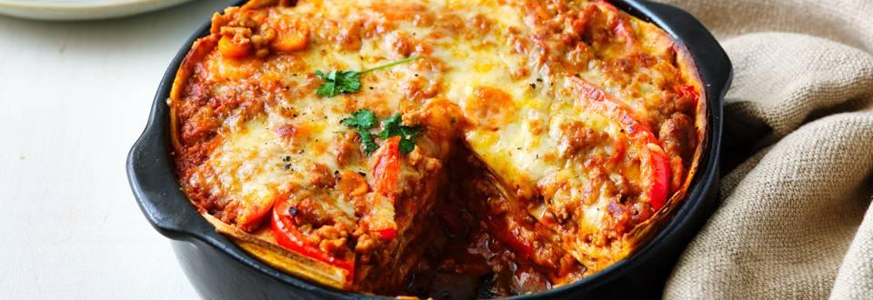 Taco lasagne met gehakt
