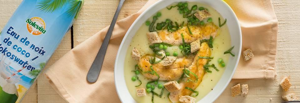 Aardappelsoep met kip en erwten