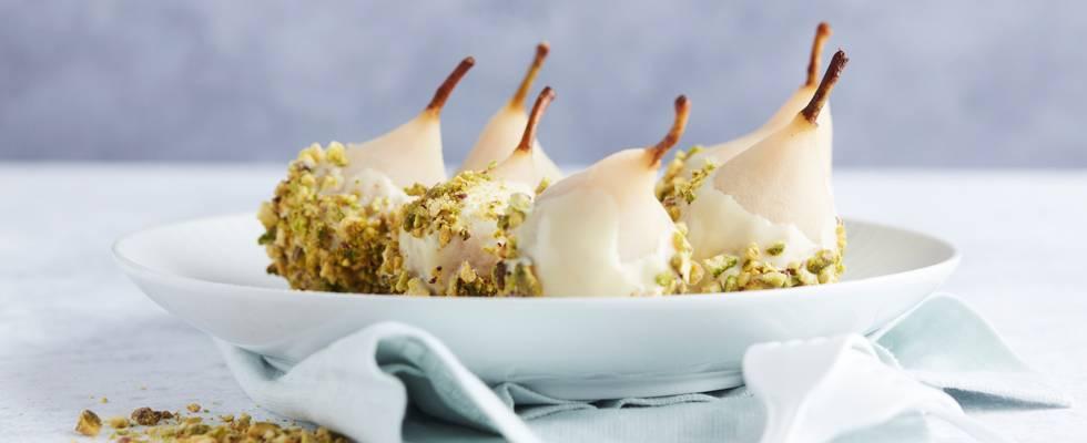 Peren met witte chocolade en pistachenoten
